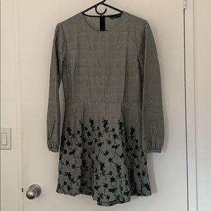 Zara Embroidered Flower Plaid Dress